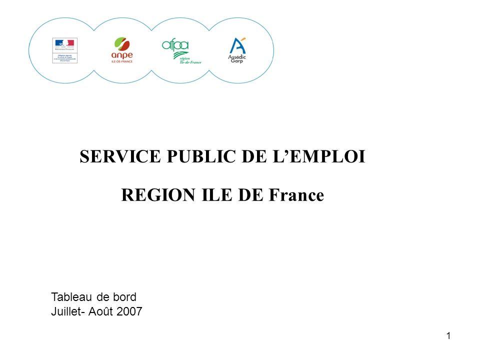 1 SERVICE PUBLIC DE LEMPLOI REGION ILE DE France Tableau de bord Juillet- Août 2007
