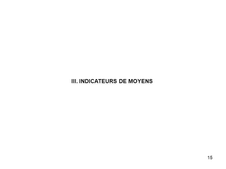 15 III. INDICATEURS DE MOYENS
