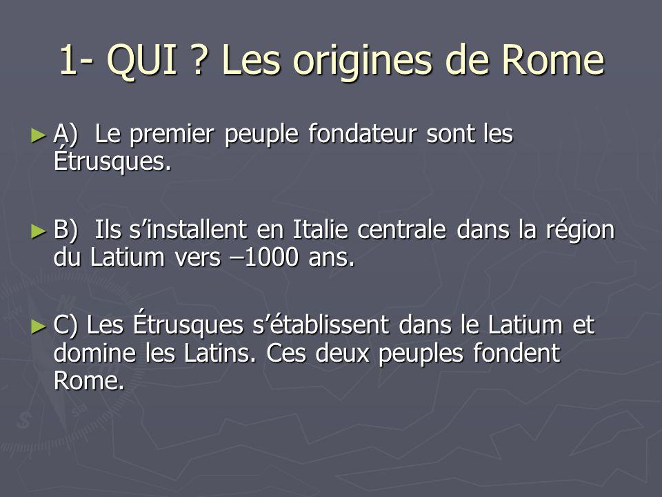 1- QUI ? Les origines de Rome A) Le premier peuple fondateur sont les Étrusques. A) Le premier peuple fondateur sont les Étrusques. B) Ils sinstallent