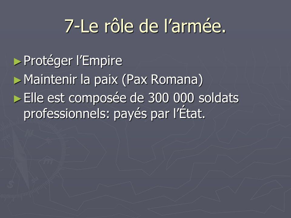 7-Le rôle de larmée. Protéger lEmpire Protéger lEmpire Maintenir la paix (Pax Romana) Maintenir la paix (Pax Romana) Elle est composée de 300 000 sold