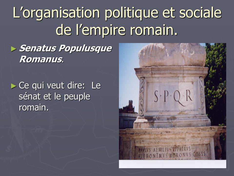 Lorganisation politique et sociale de lempire romain. Senatus Populusque Romanus. Senatus Populusque Romanus. Ce qui veut dire: Le sénat et le peuple
