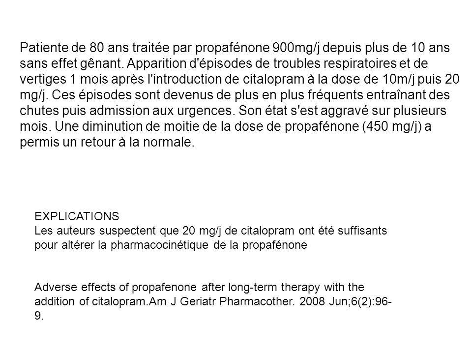 Patiente de 80 ans traitée par propafénone 900mg/j depuis plus de 10 ans sans effet gênant. Apparition d'épisodes de troubles respiratoires et de vert