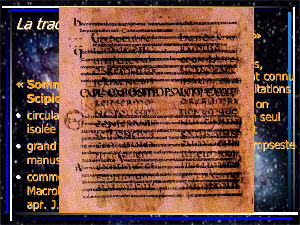 La tradition manuscrite « Somnium Scipionis » circulait de façon isoléecirculait de façon isolée grand nombre de manuscritsgrand nombre de manuscrits
