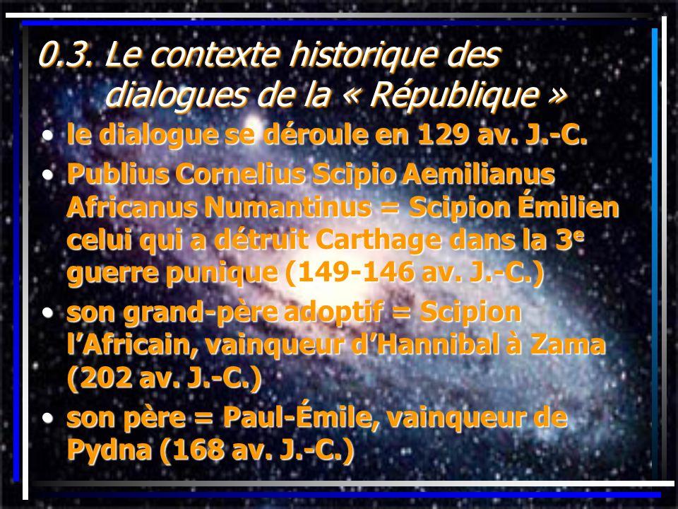 0.3. Le contexte historique des dialogues de la « République » le dialogue se déroule en 129 av. J.-C.le dialogue se déroule en 129 av. J.-C. Publius