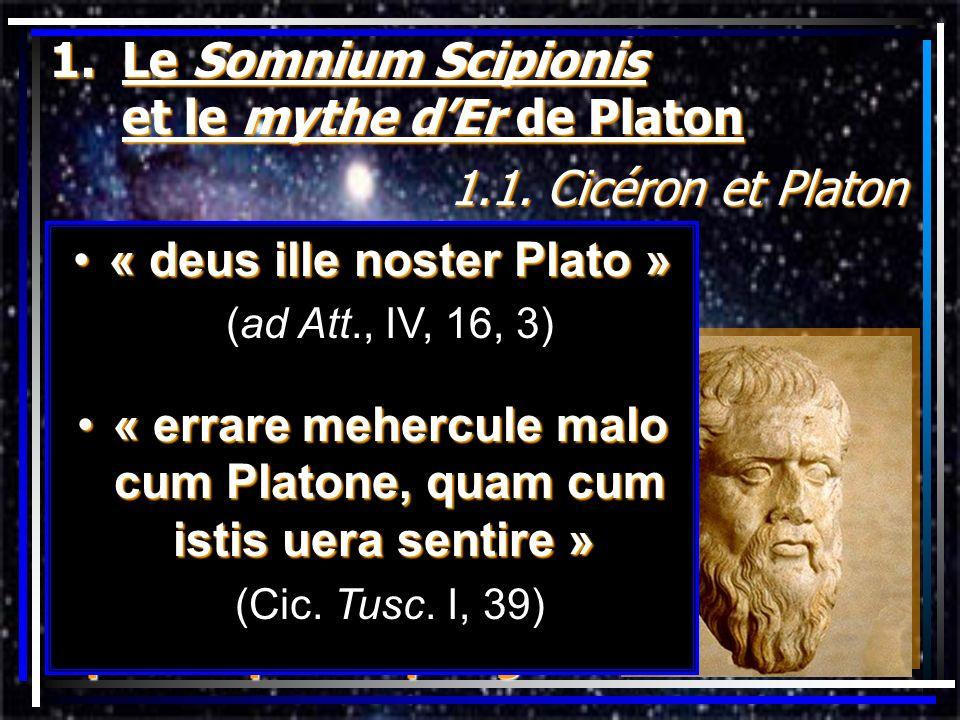 1.Le Somnium Scipionis et le mythe dEr de Platon 1.1. Cicéron et Platon éclectisme de Cicéronéclectisme de Cicéron traducteur de Platontraducteur de P