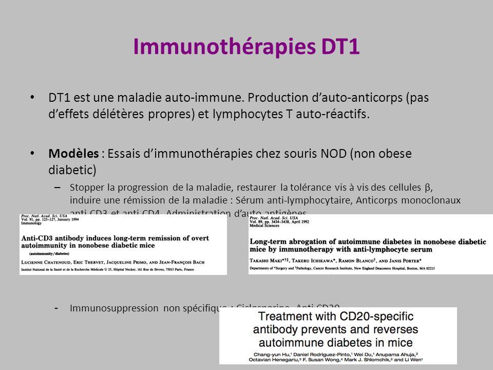 Immunothérapies DT1 DT1 est une maladie auto-immune. Production dauto-anticorps (pas deffets délétères propres) et lymphocytes T auto-réactifs. Modèle
