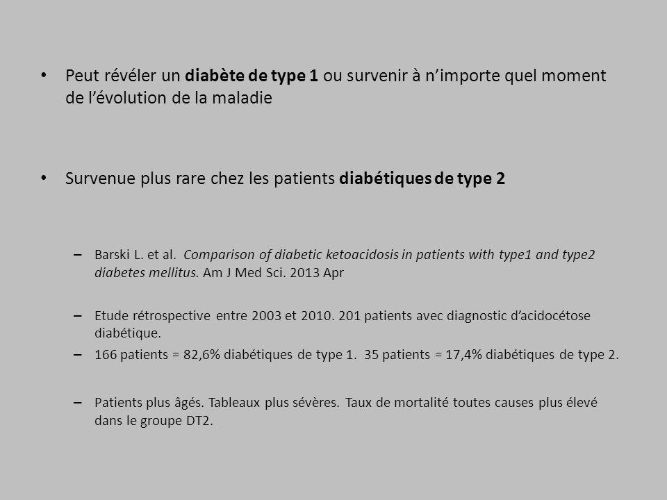 Peut révéler un diabète de type 1 ou survenir à nimporte quel moment de lévolution de la maladie Survenue plus rare chez les patients diabétiques de t