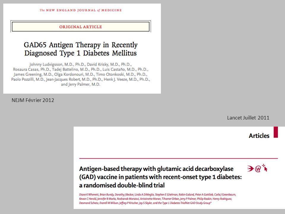 NEJM Février 2012 Lancet Juillet 2011