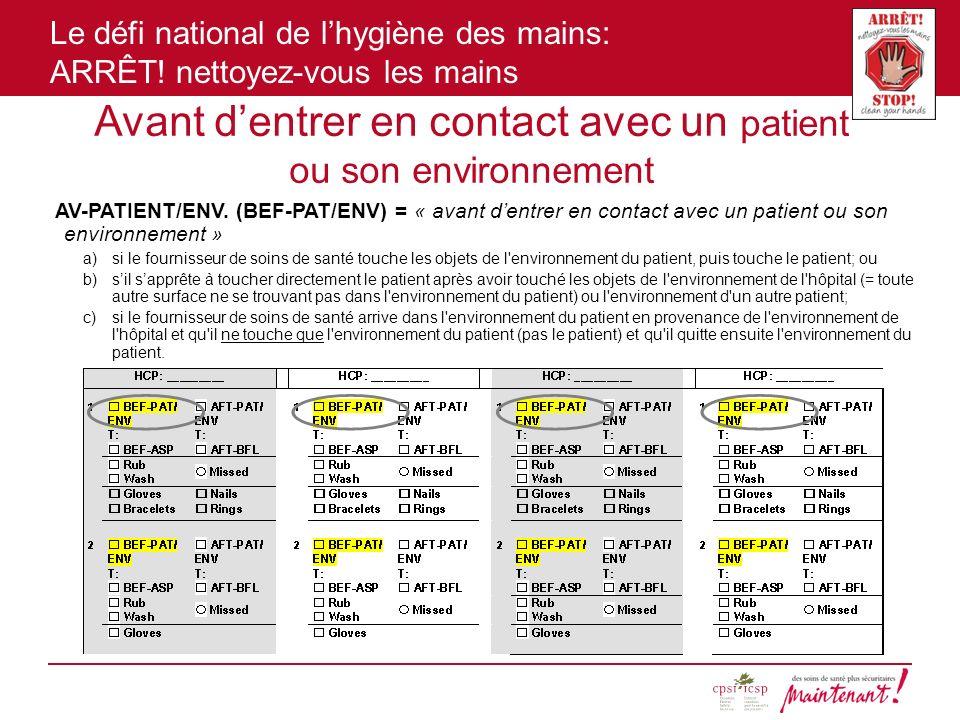 Le défi national de lhygiène des mains: ARRÊT! nettoyez-vous les mains Avant dentrer en contact avec un patient ou son environnement AV-PATIENT/ENV. (