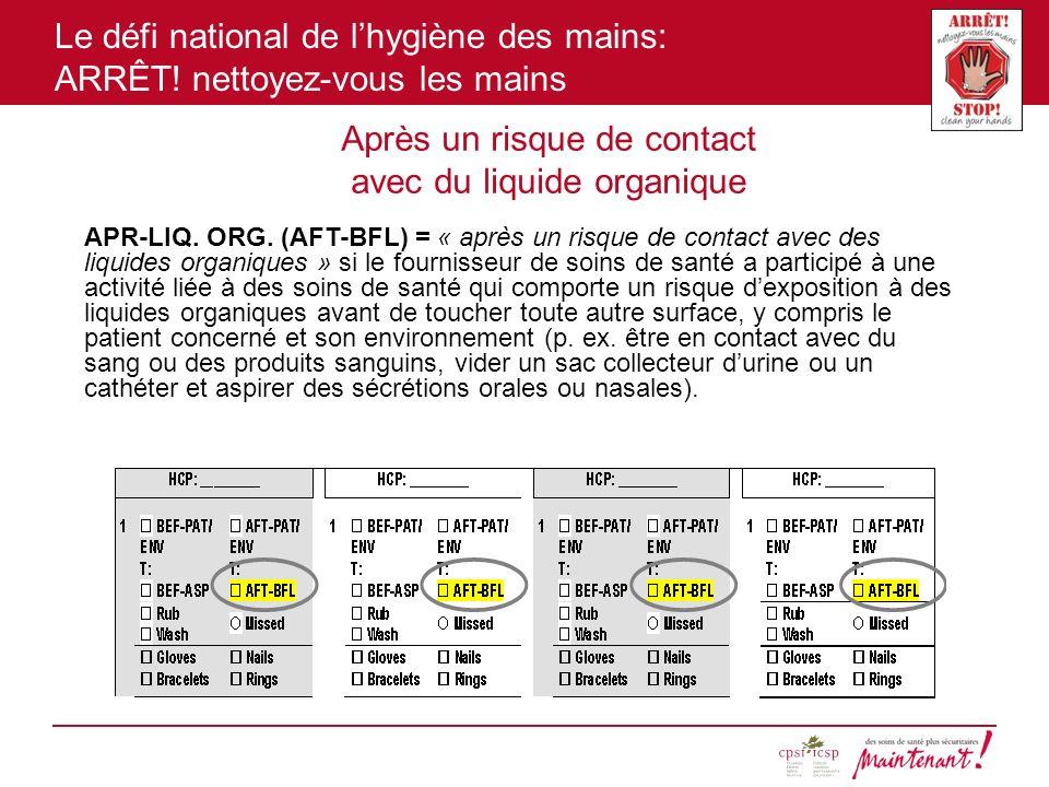 Le défi national de lhygiène des mains: ARRÊT! nettoyez-vous les mains Après un risque de contact avec du liquide organique APR-LIQ. ORG. (AFT-BFL) =