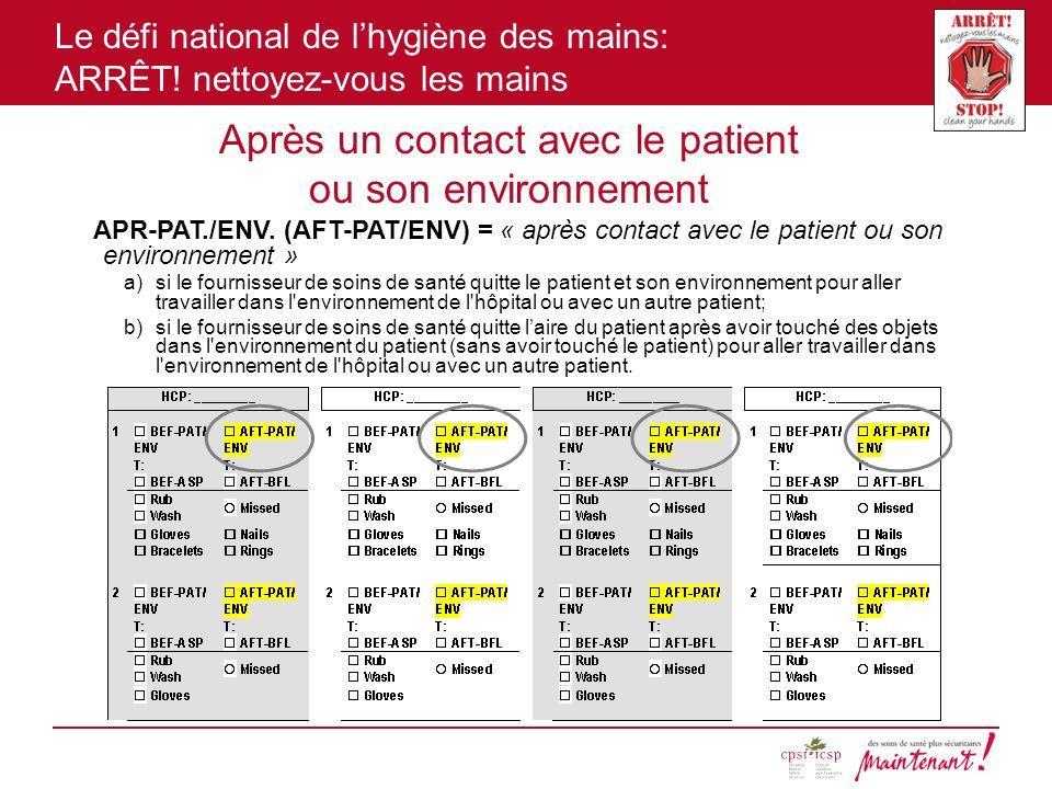 Le défi national de lhygiène des mains: ARRÊT! nettoyez-vous les mains Après un contact avec le patient ou son environnement APR-PAT./ENV. (AFT-PAT/EN