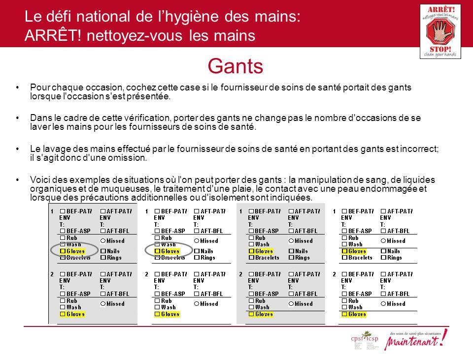 Le défi national de lhygiène des mains: ARRÊT! nettoyez-vous les mains Gants Pour chaque occasion, cochez cette case si le fournisseur de soins de san