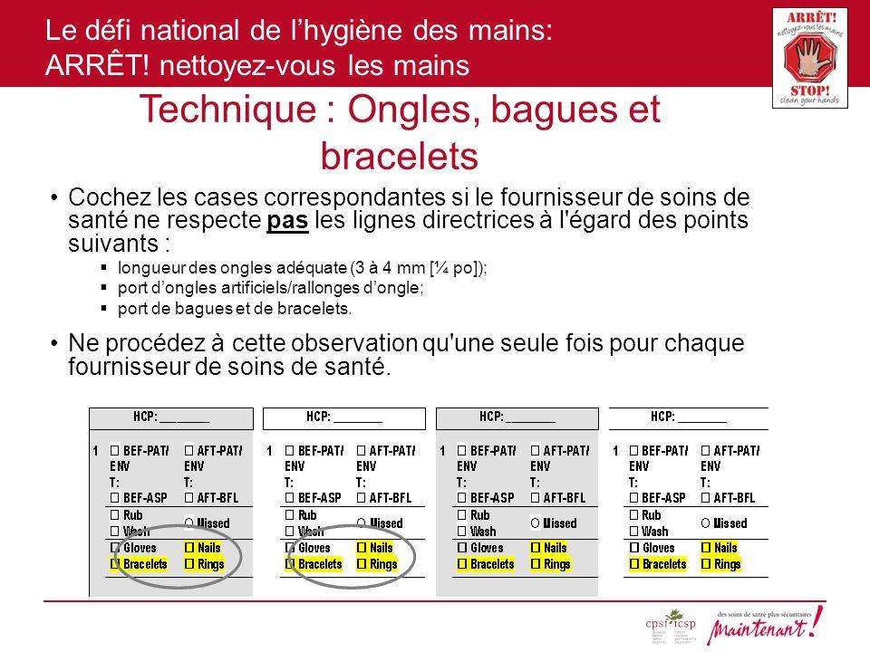 Le défi national de lhygiène des mains: ARRÊT! nettoyez-vous les mains Technique : Ongles, bagues et bracelets Cochez les cases correspondantes si le