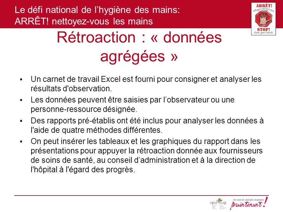 Le défi national de lhygiène des mains: ARRÊT! nettoyez-vous les mains Rétroaction : « données agrégées » Un carnet de travail Excel est fourni pour c