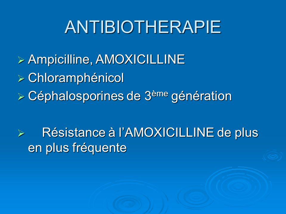 ANTIBIOTHERAPIE Ampicilline, AMOXICILLINE Ampicilline, AMOXICILLINE Chloramphénicol Chloramphénicol Céphalosporines de 3 ème génération Céphalosporine