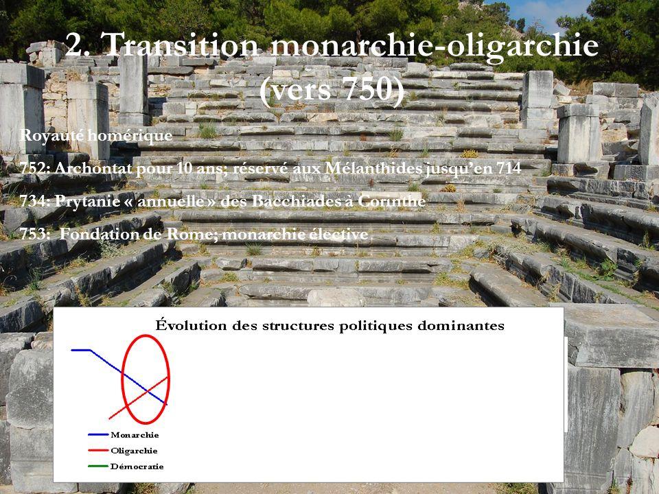 2. Transition monarchie-oligarchie (vers 750) Royauté homérique 752: Archontat pour 10 ans; réservé aux Mélanthides jusquen 714 734: Prytanie « annuel
