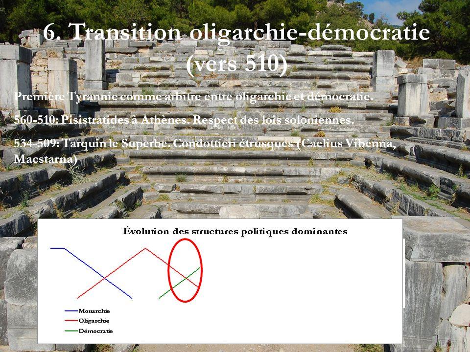 6. Transition oligarchie-démocratie (vers 510) Première Tyrannie comme arbitre entre oligarchie et démocratie. 560-510: Pisistratides à Athènes. Respe