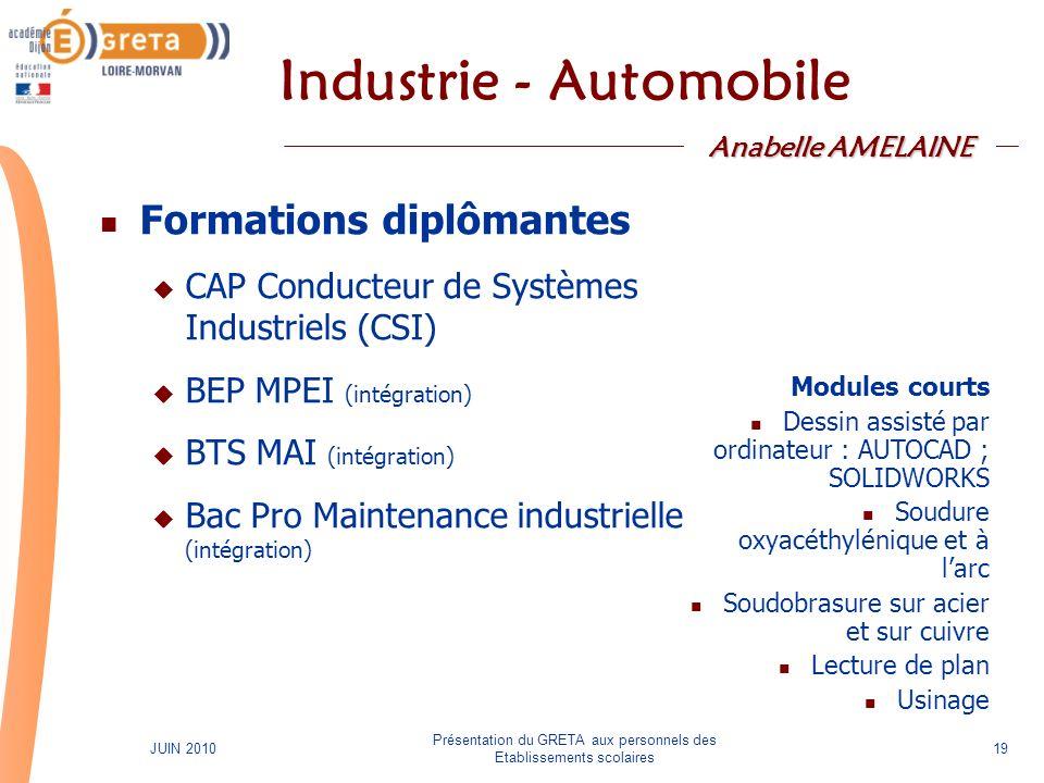 Présentation du GRETA aux personnels des Etablissements scolaires 19JUIN 2010 Industrie - Automobile Formations diplômantes CAP Conducteur de Systèmes