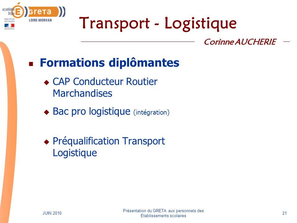 Présentation du GRETA aux personnels des Etablissements scolaires 21JUIN 2010 Transport - Logistique Formations diplômantes CAP Conducteur Routier Mar