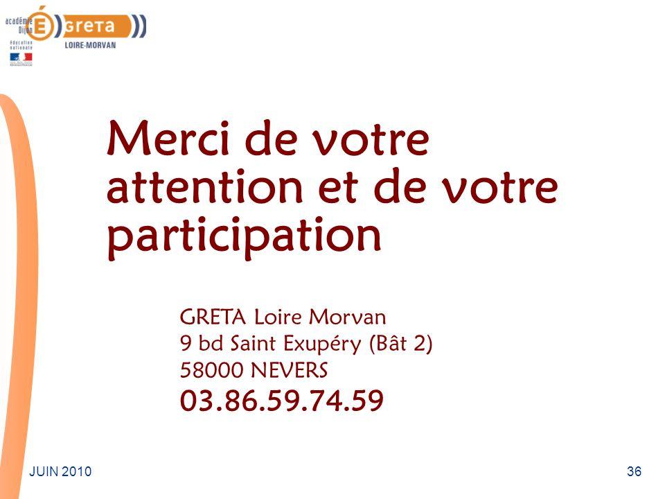 36JUIN 2010 Merci de votre attention et de votre participation GRETA Loire Morvan 9 bd Saint Exupéry (Bât 2) 58000 NEVERS 03.86.59.74.59