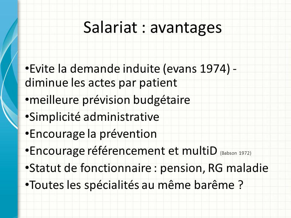 Salariat : avantages Evite la demande induite (evans 1974) - diminue les actes par patient meilleure prévision budgétaire Simplicité administrative En