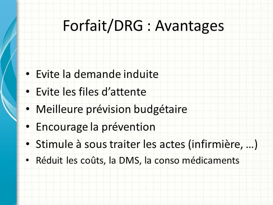 Forfait/DRG : Avantages Evite la demande induite Evite les files dattente Meilleure prévision budgétaire Encourage la prévention Stimule à sous traite
