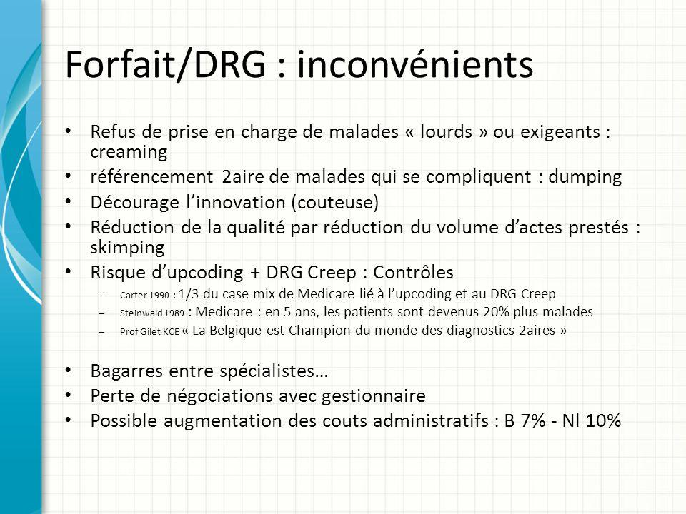 Forfait/DRG : inconvénients Refus de prise en charge de malades « lourds » ou exigeants : creaming référencement 2aire de malades qui se compliquent :