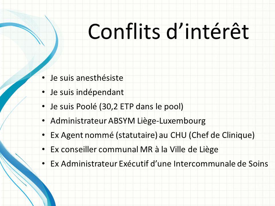 Conflits dintérêt Je suis anesthésiste Je suis indépendant Je suis Poolé (30,2 ETP dans le pool) Administrateur ABSYM Liège-Luxembourg Ex Agent nommé