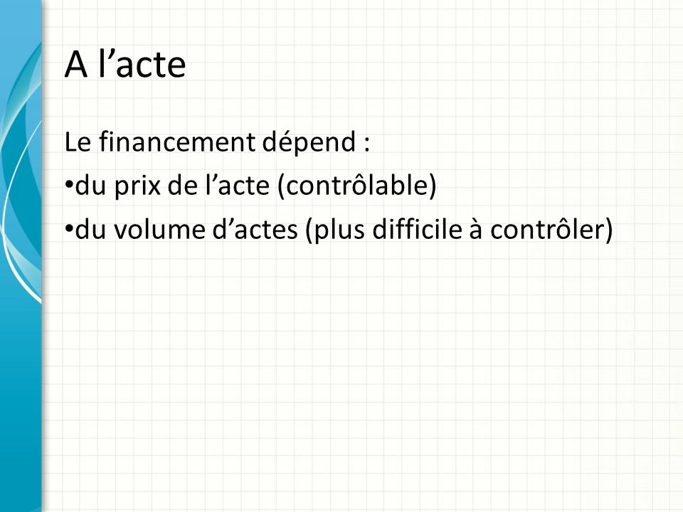A lacte Le financement dépend : du prix de lacte (contrôlable) du volume dactes (plus difficile à contrôler)