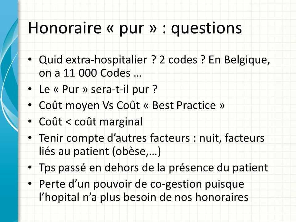 Honoraire « pur » : questions Quid extra-hospitalier ? 2 codes ? En Belgique, on a 11 000 Codes … Le « Pur » sera-t-il pur ? Coût moyen Vs Coût « Best
