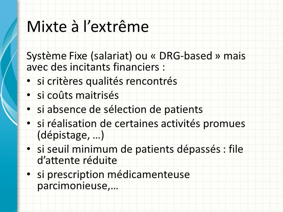 Mixte à lextrême Système Fixe (salariat) ou « DRG-based » mais avec des incitants financiers : si critères qualités rencontrés si coûts maitrisés si a