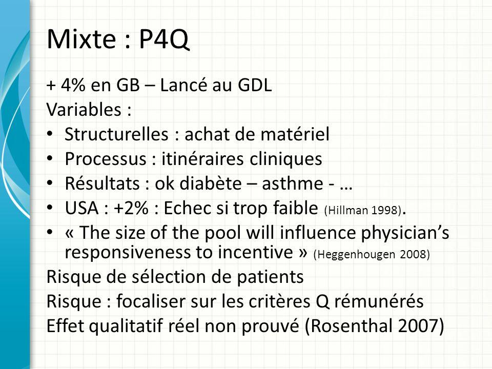 Mixte : P4Q + 4% en GB – Lancé au GDL Variables : Structurelles : achat de matériel Processus : itinéraires cliniques Résultats : ok diabète – asthme