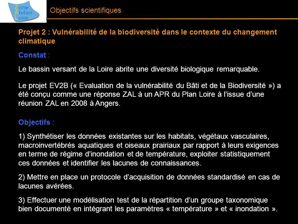 Objectifs scientifiques Projet 2 : Vulnérabilité de la biodiversité dans le contexte du changement climatique Constat : Le bassin versant de la Loire