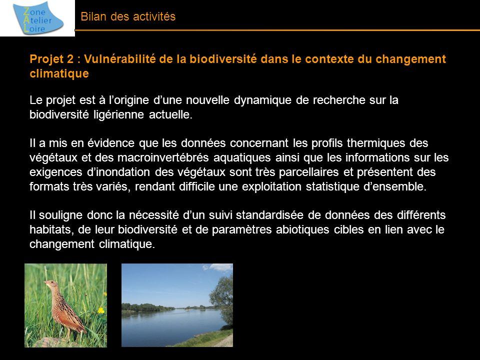 Bilan des activités Projet 2 : Vulnérabilité de la biodiversité dans le contexte du changement climatique Le projet est à lorigine dune nouvelle dynam