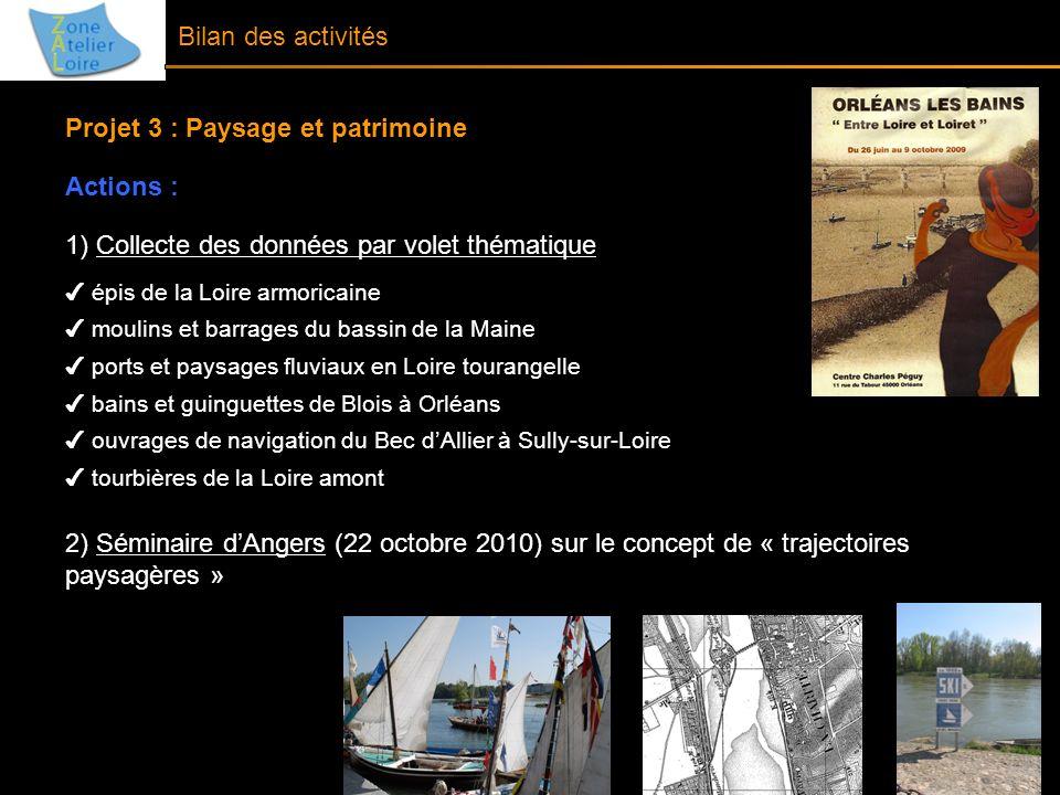 Bilan des activités Projet 3 : Paysage et patrimoine Actions : 1) Collecte des données par volet thématique épis de la Loire armoricaine moulins et ba