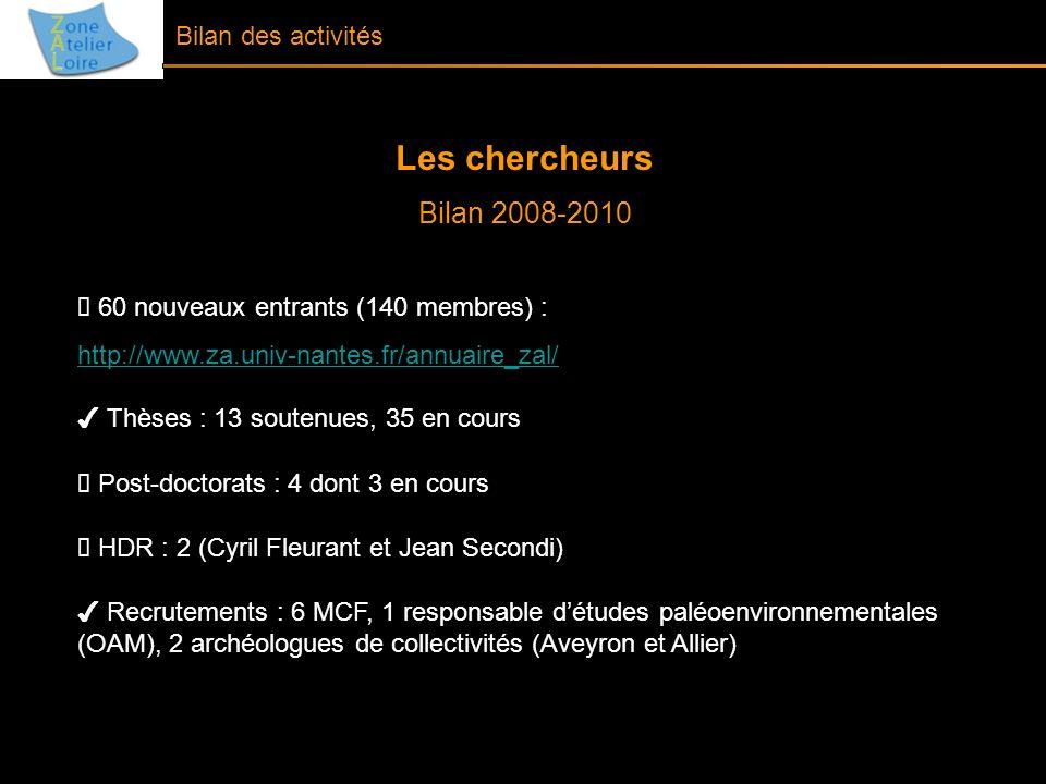 Les chercheurs Bilan 2008-2010 60 nouveaux entrants (140 membres) : http://www.za.univ-nantes.fr/annuaire_zal/ Thèses : 13 soutenues, 35 en cours Post