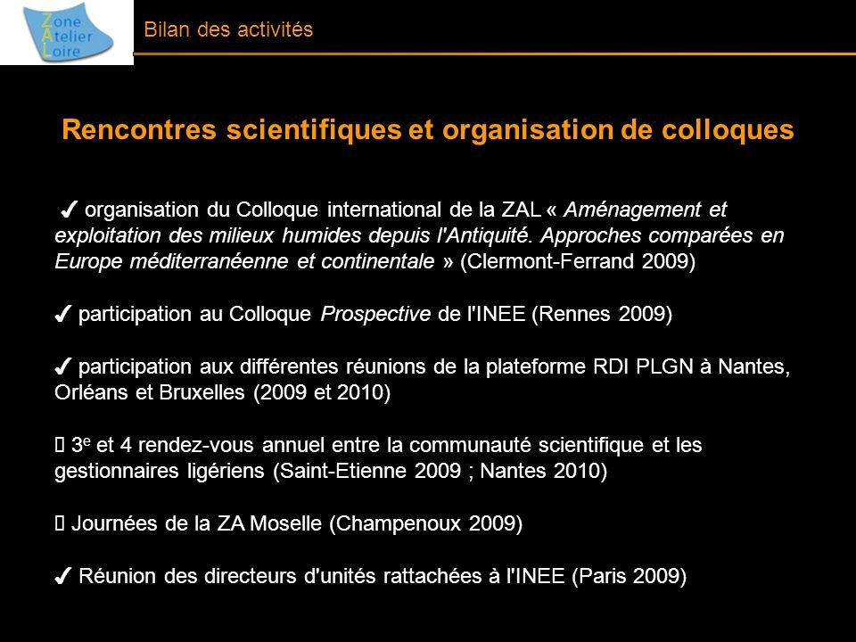 Bilan des activités Rencontres scientifiques et organisation de colloques organisation du Colloque international de la ZAL « Aménagement et exploitati