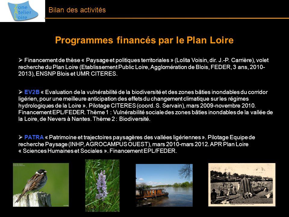Bilan des activités Programmes financés par le Plan Loire Financement de thèse « Paysage et politiques territoriales » (Lolita Voisin, dir. J.-P. Carr