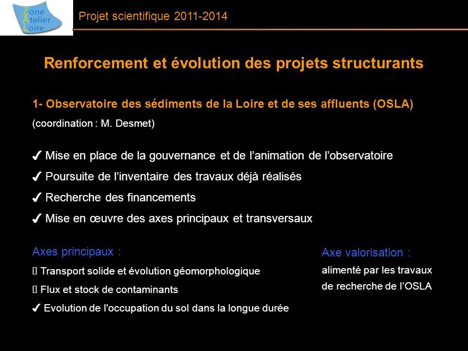 1- Observatoire des sédiments de la Loire et de ses affluents (OSLA) (coordination : M. Desmet) Mise en place de la gouvernance et de lanimation de lo
