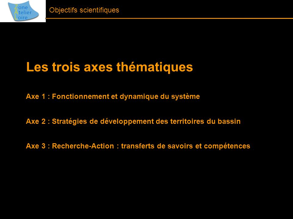 Objectifs scientifiques Les trois axes thématiques Axe 1 : Fonctionnement et dynamique du système Axe 2 : Stratégies de développement des territoires