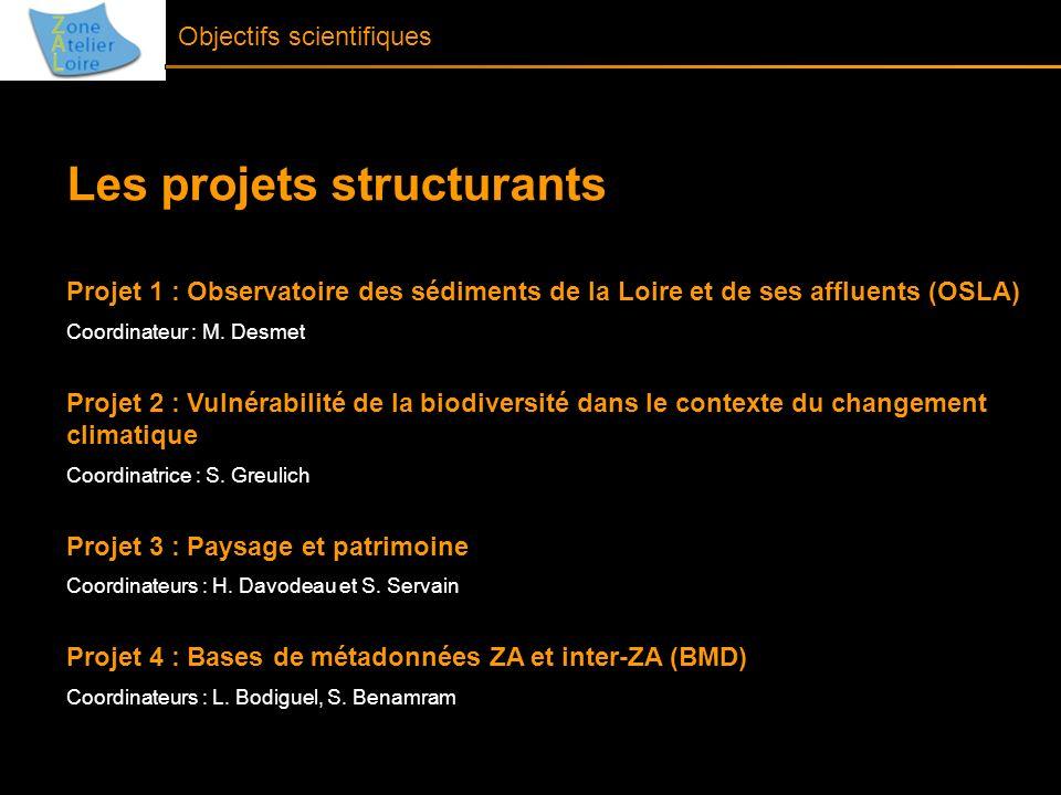 Objectifs scientifiques Les projets structurants Projet 1 : Observatoire des sédiments de la Loire et de ses affluents (OSLA) Coordinateur : M. Desmet