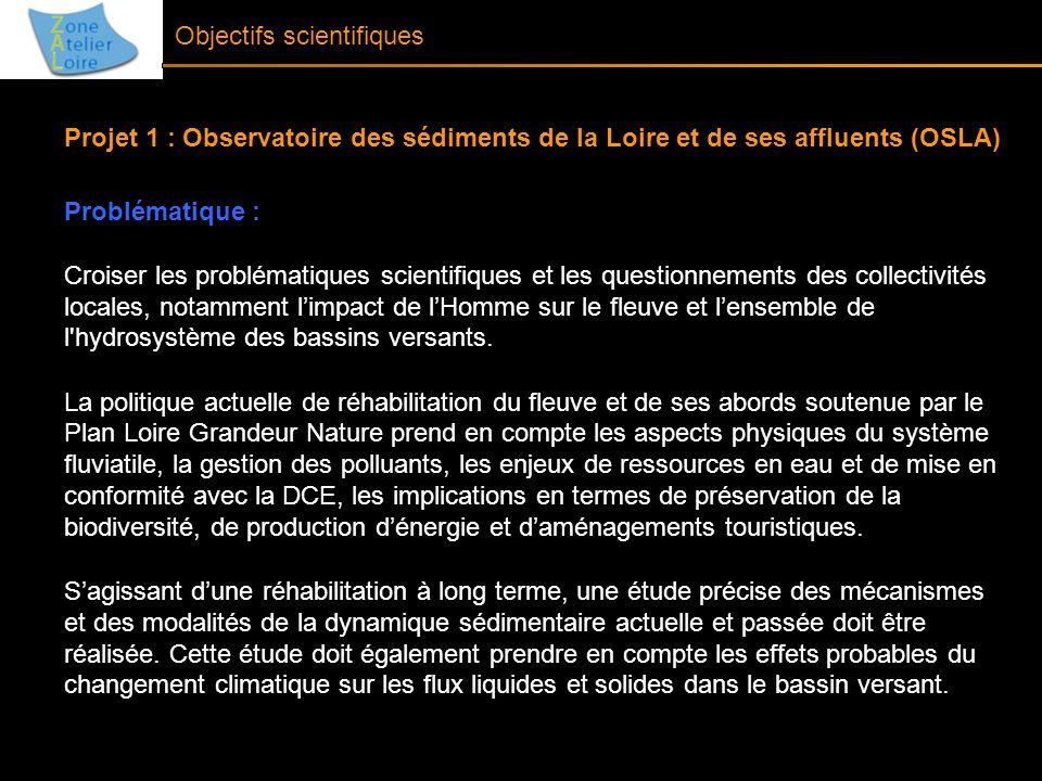 Objectifs scientifiques Projet 1 : Observatoire des sédiments de la Loire et de ses affluents (OSLA) Problématique : Croiser les problématiques scient