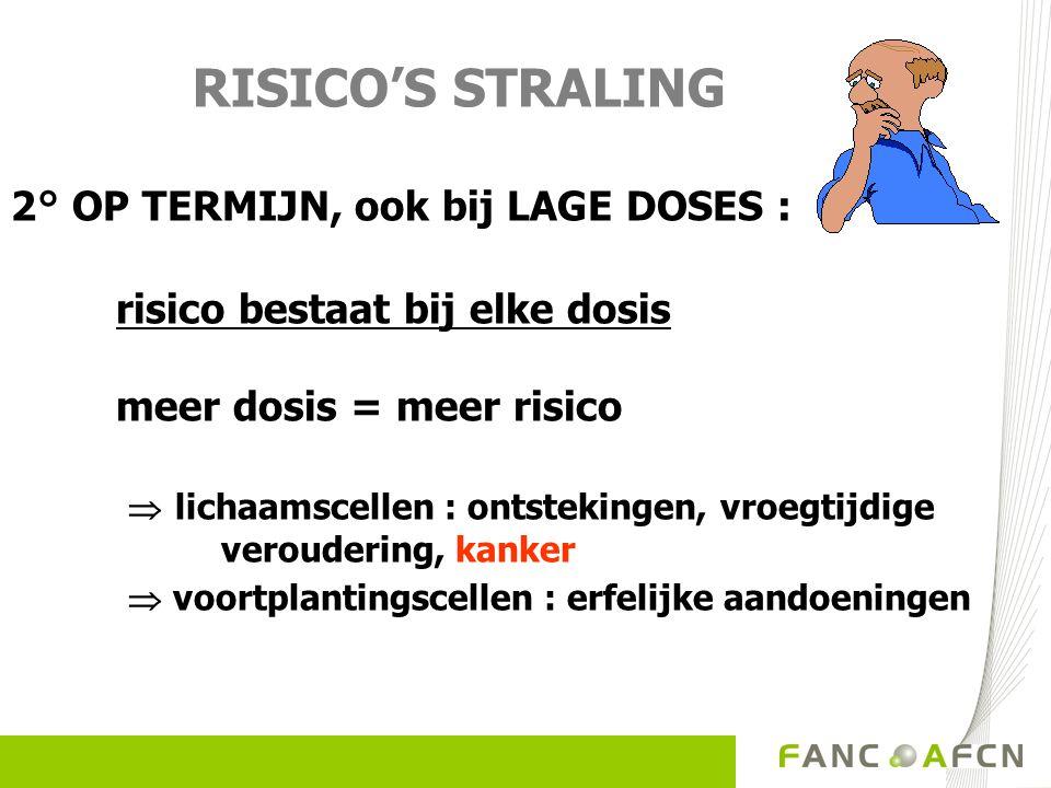 RISICOS STRALING 2° OP TERMIJN, ook bij LAGE DOSES : risico bestaat bij elke dosis meer dosis = meer risico lichaamscellen : ontstekingen, vroegtijdige veroudering, kanker voortplantingscellen : erfelijke aandoeningen