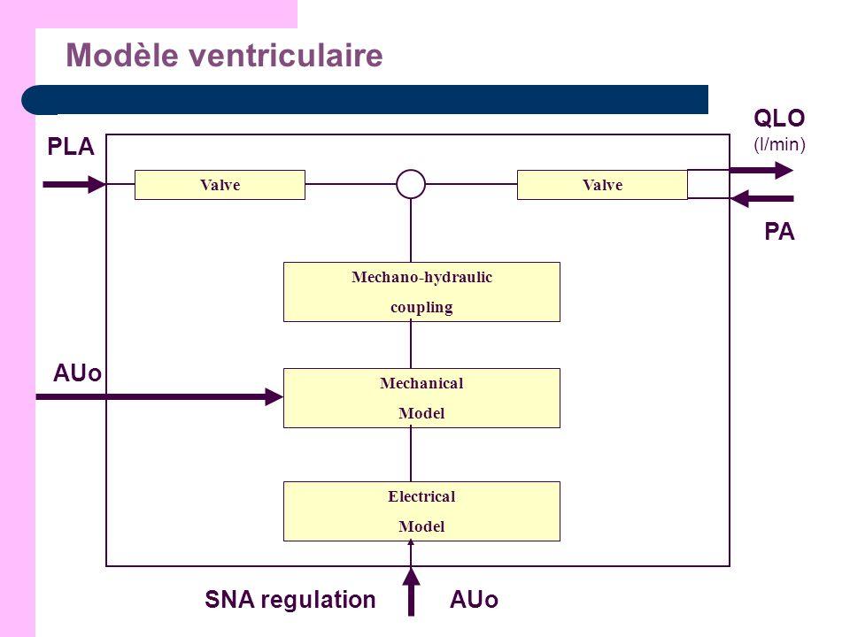 Modèle ventriculaire Valve Mechano-hydraulic coupling Valve Mechanical Model Electrical Model SNA regulation PLA QLO (l/min) PA AUo