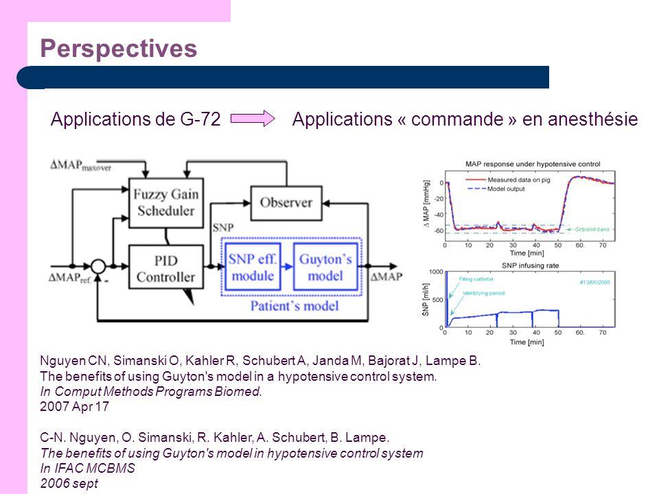 Perspectives Applications de G-72 Nguyen CN, Simanski O, Kahler R, Schubert A, Janda M, Bajorat J, Lampe B. The benefits of using Guyton's model in a