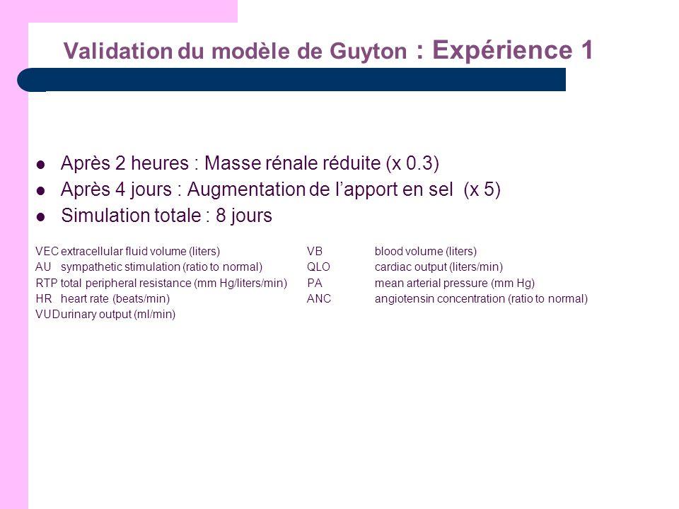 Validation du modèle de Guyton : Expérience 1 Après 2 heures : Masse rénale réduite (x 0.3) Après 4 jours : Augmentation de lapport en sel (x 5) Simul