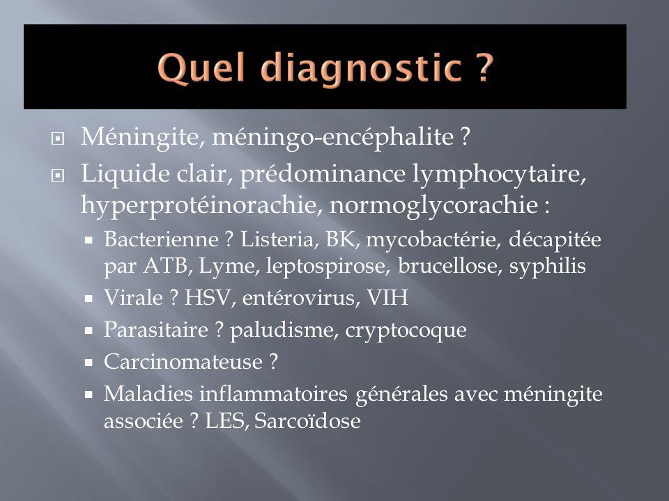 Méningite, méningo-encéphalite ? Liquide clair, prédominance lymphocytaire, hyperprotéinorachie, normoglycorachie : Bacterienne ? Listeria, BK, mycoba