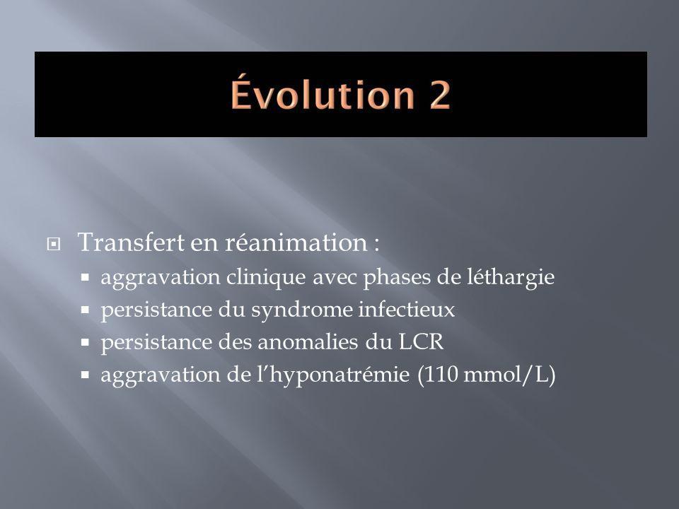 Transfert en réanimation : aggravation clinique avec phases de léthargie persistance du syndrome infectieux persistance des anomalies du LCR aggravati