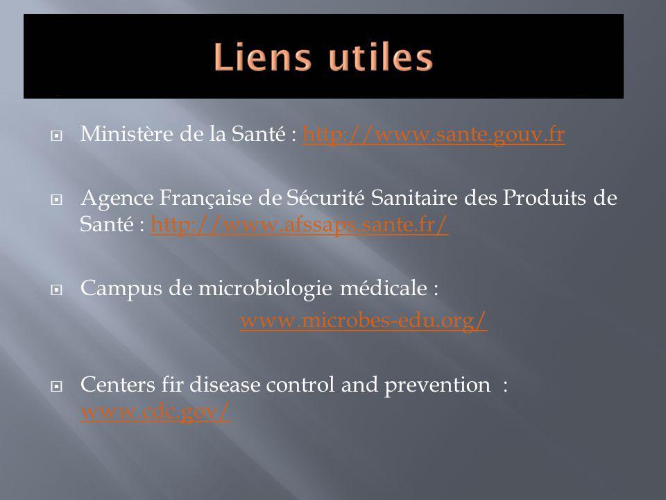 Ministère de la Santé : http://www.sante.gouv.frhttp://www.sante.gouv.fr Agence Française de Sécurité Sanitaire des Produits de Santé : http://www.afs