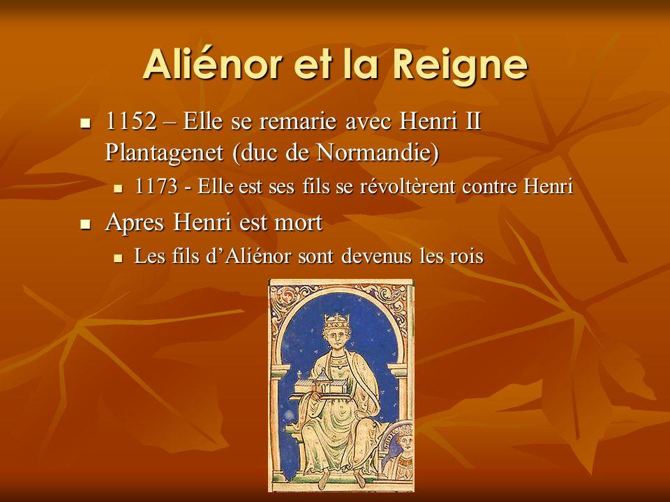 Aliénor et la Reigne 1152 – Elle se remarie avec Henri II Plantagenet (duc de Normandie) 1152 – Elle se remarie avec Henri II Plantagenet (duc de Normandie) 1173 - Elle est ses fils se révoltèrent contre Henri 1173 - Elle est ses fils se révoltèrent contre Henri Apres Henri est mort Apres Henri est mort Les fils dAliénor sont devenus les rois Les fils dAliénor sont devenus les rois
